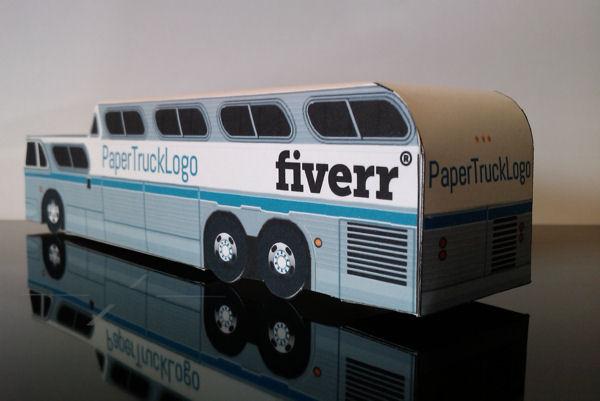 bouwplaat-papercraft-paper model-truck-van-bus-coach-container-fiverr-papertrucklogo
